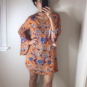 Floral bell sleeves choker boho dress